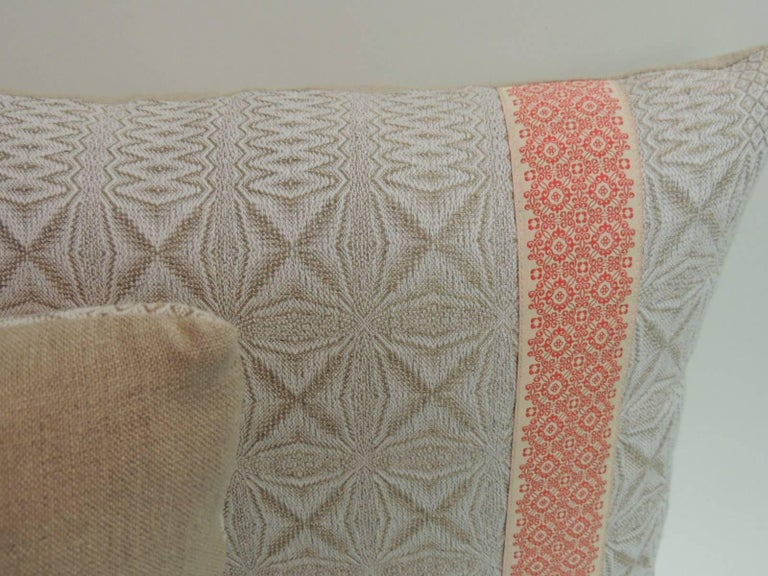 Pair of Vintage Woven Swedish Decorative Pillows with Ribbon Accents In Good Condition For Sale In Wilton Manors, FL