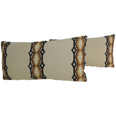 Pair of Vintage Woven Swedish Embroidery Style Decorative Bolster Pillows