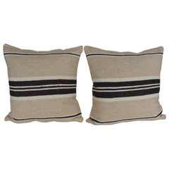 Pair of Vintage Woven Tribal Artisanal Textile Decorative Square Pillows