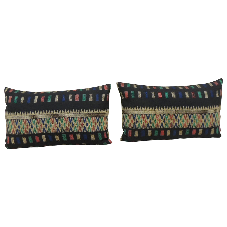 Pair of Vintage Woven Yellow and Blue Laos Woven Silk Decorative Lumbar Pillows