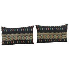 Pair of Vintage Woven Yellow and Blue Laos Woven Silk Decorative Lumbar Pillows