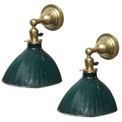 Pair of Vintage X-Ray Green Mercury Glass and Brass Wall Lamps