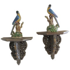 Pair of Vintage Yellow and Blue Chinese Export Parrots on Wood Brackets