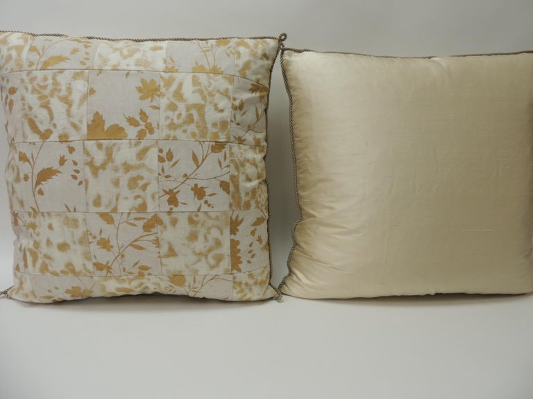 Hand-Crafted Pair of Vintage Yellow and Natural Fortuny Patchwork Square Decorative Pillows For Sale