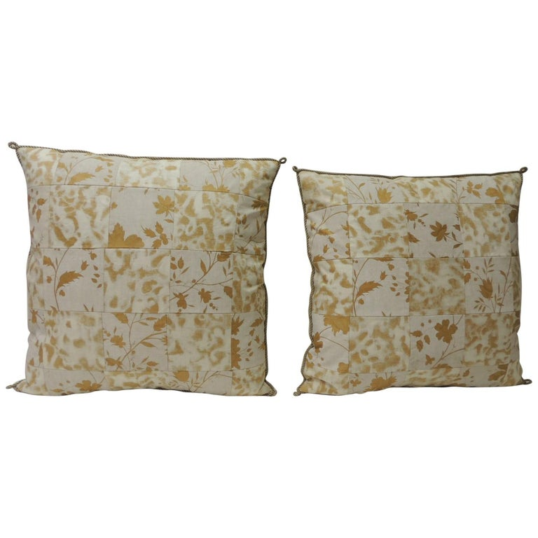 Pair of Vintage Yellow and Natural Fortuny Patchwork Square Decorative Pillows For Sale