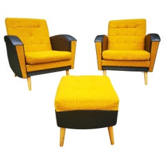 Pair of Vintage Yellow Lounge Armchairs and 1 Ottoman