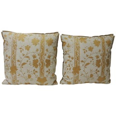Pair of Vintage Yellow & Natural Fortuny Stripes and Flowers Decorative Pillows