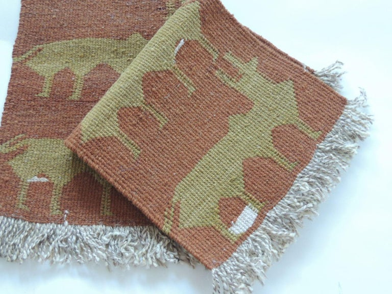 Tribal Pair of Vintage Camel and Green Woven Rug Samples For Sale