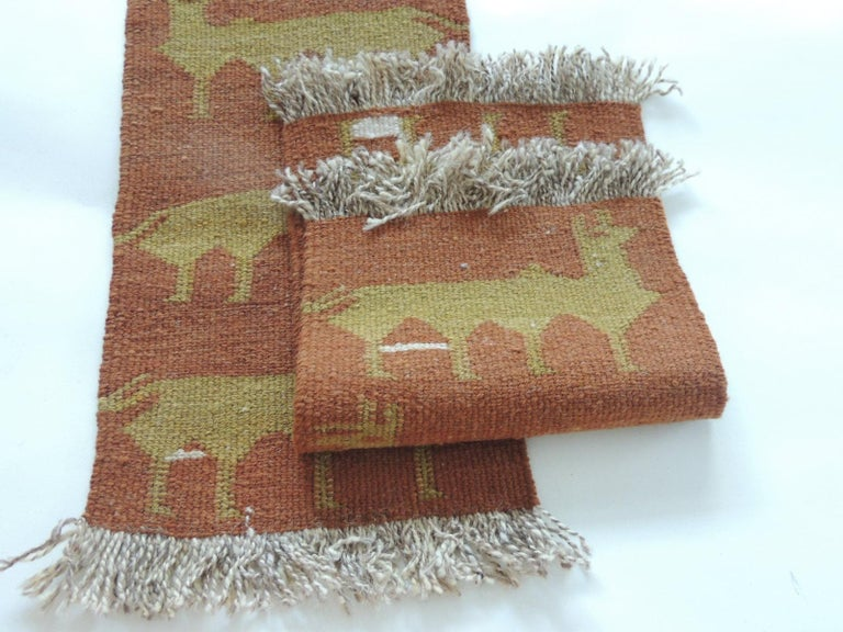 Spanish Pair of Vintage Camel and Green Woven Rug Samples For Sale