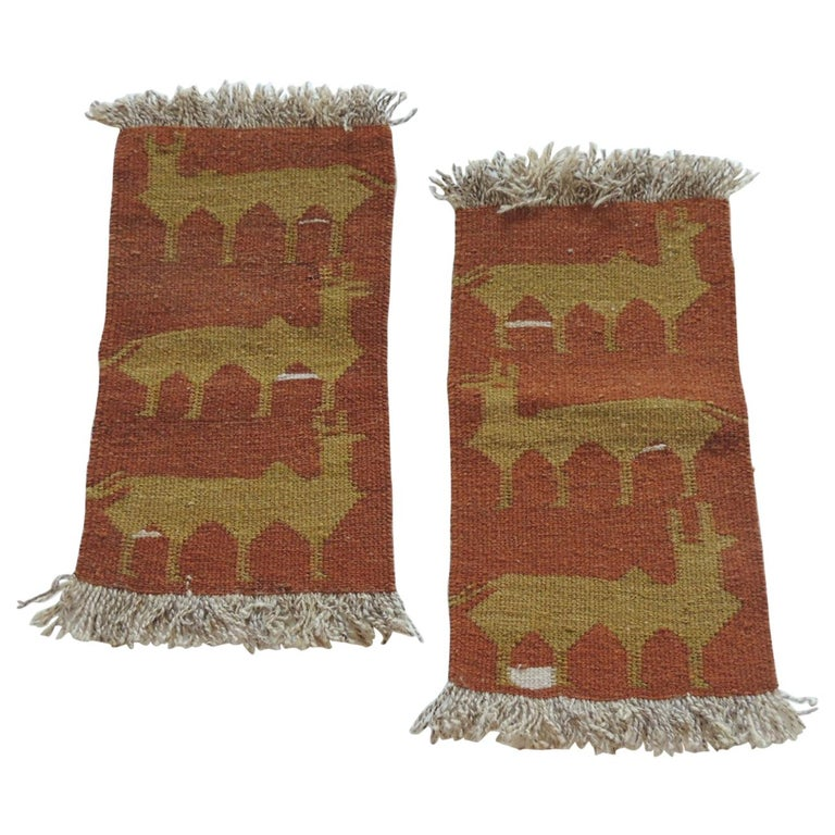 Pair of Vintage Camel and Green Woven Rug Samples For Sale