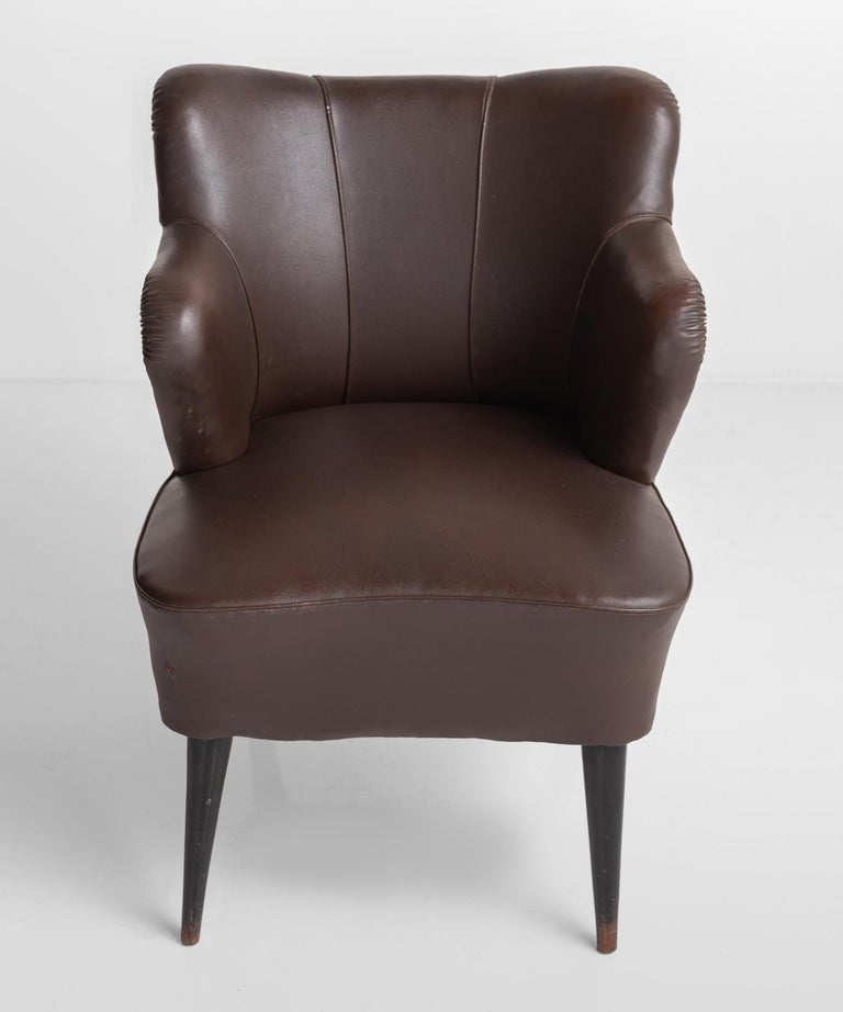 Italian Pair of Vinyl Armchairs by G. Pulitzer Finali, Italy, circa 1940 For Sale