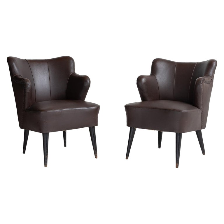 Pair of Vinyl Armchairs by G. Pulitzer Finali, Italy, circa 1940 For Sale