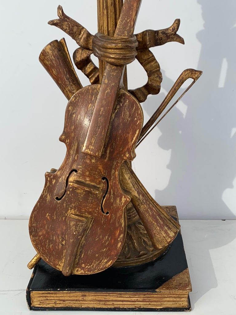 Pair of Violin Gold Leaf Lamps For Sale 3