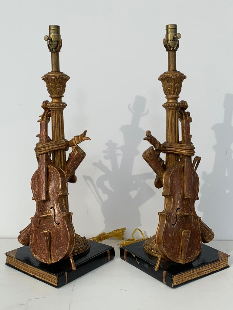 Hollywood Regency Pair of Violin Gold Leaf Lamps For Sale