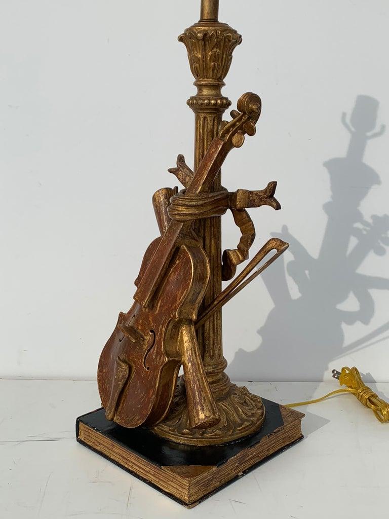 Appliqué Pair of Violin Gold Leaf Lamps For Sale