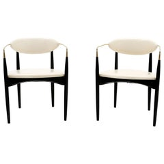 Pair of Viscount Chairs by Dan Johnson, White / Ivory with Brass Arms, Original