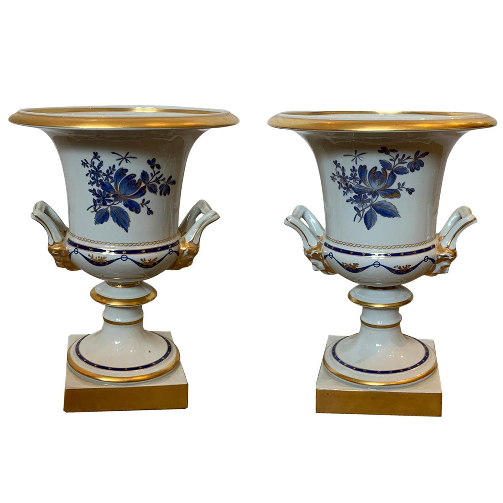 Pair of Vista Alegre Portuguese Blue & White Porcelain Urns, Gilt Details Marked