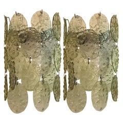 Pair of Vistosi 1960s Champagne Glass Disk Sconces