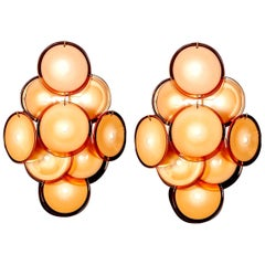 Pair of Vistosi Disc Murano Glass Sconces or Wall Light, 1970s