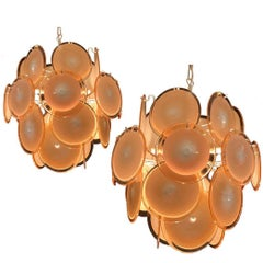 Pair of Vistosi Midcentury Amber Murano Glass Discs Italian Chandeliers, 1970s