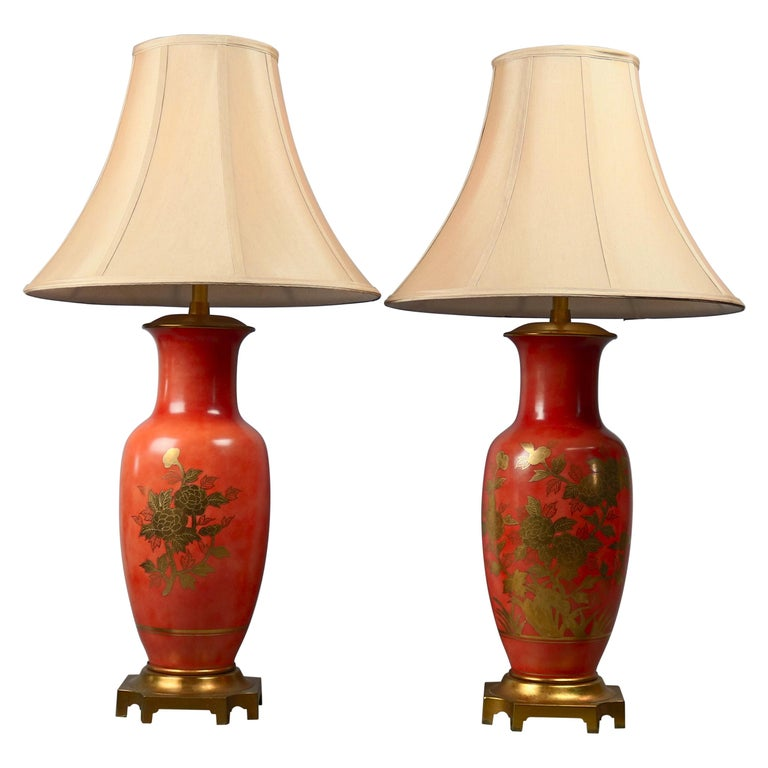 Pair of Vitrine Chinese Gilt Decorated Porcelain Table Lamps, 20th Century For Sale
