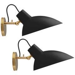 Pair of Vittoriano Viganò 'VV Cinquanta' Sconces in Black and Brass