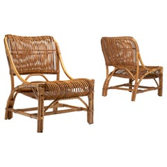 Pair of Vittorio Bonacina Attributed Wicker Chairs, Italy, 1950s