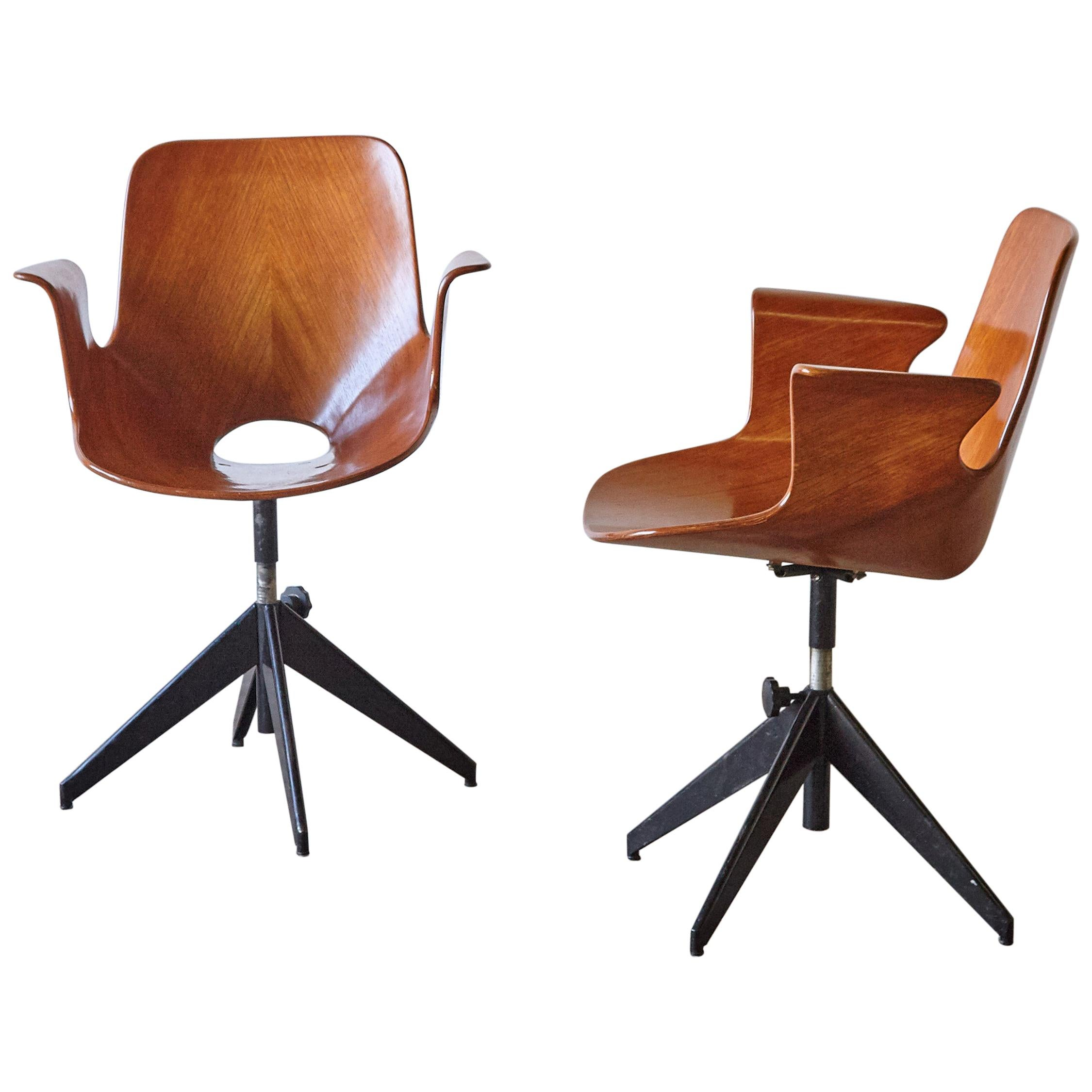 Pair of Vittorio Nobili for Fratelli Tagliabue Medea Desk Chairs, Italy, 1950s
