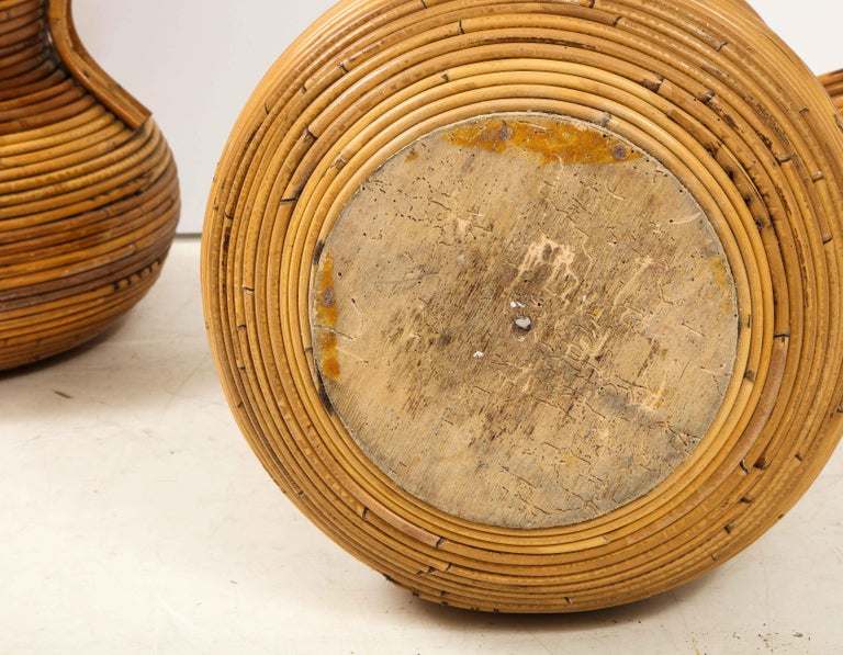 Pair of Vivai del Sud Italian Rattan Vases with Handles For Sale 5