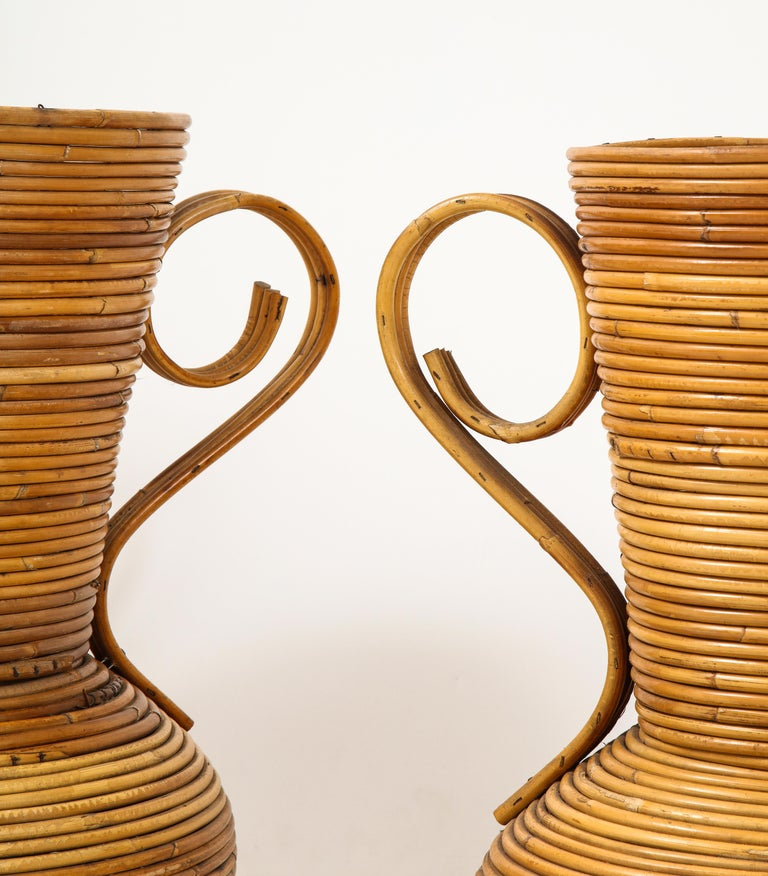 Pair of Vivai del Sud Italian Rattan Vases with Handles For Sale 6