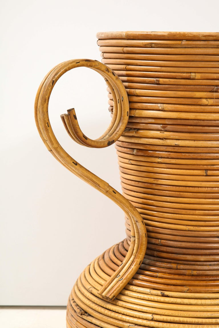 Pair of Vivai del Sud Italian Rattan Vases with Handles For Sale 7