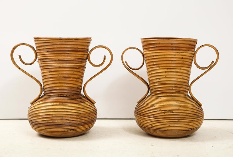 Mid-Century Modern Pair of Vivai del Sud Italian Rattan Vases with Handles For Sale