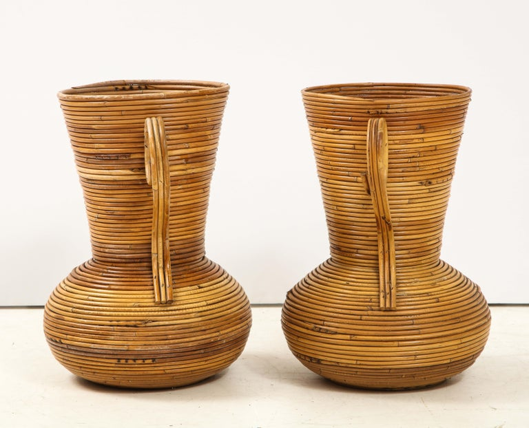 Late 20th Century Pair of Vivai del Sud Italian Rattan Vases with Handles For Sale