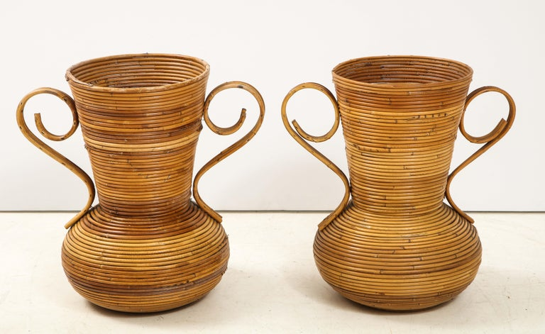Pair of Vivai del Sud Italian Rattan Vases with Handles For Sale 1