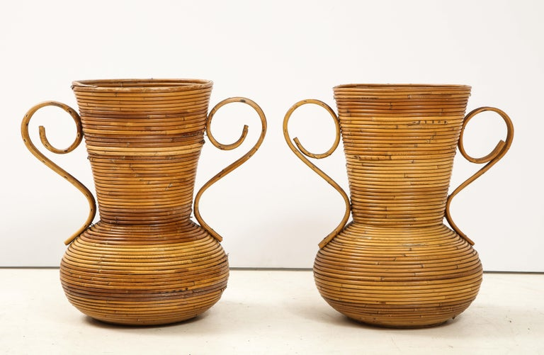 Pair of Vivai del Sud Italian Rattan Vases with Handles For Sale 2