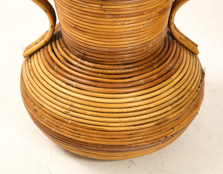 Pair of Vivai del Sud Italian Rattan Vases with Handles For Sale 3