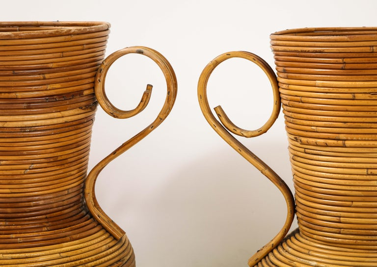 Pair of Vivai del Sud Italian Rattan Vases with Handles For Sale 4