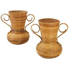 Pair of Vivai del Sud Italian Rattan Vases with Handles
