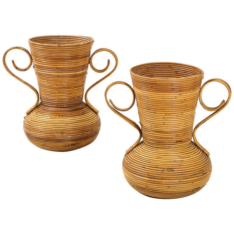 Pair of Vivai del Sud Italian Rattan Vases with Handles For Sale