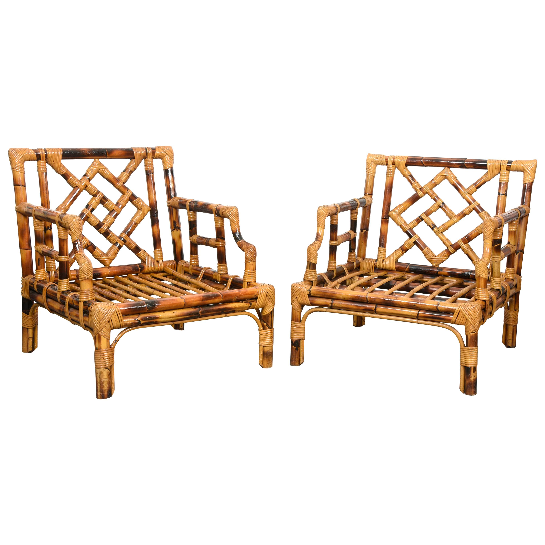 Pair of Vivai del Sud Mid-Century Modern Italian Bamboo Armchairs, 1970s