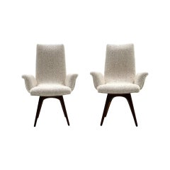 Pair of Vladimir Kagan Armchairs, Restored, Excellent, Off-White Boucle