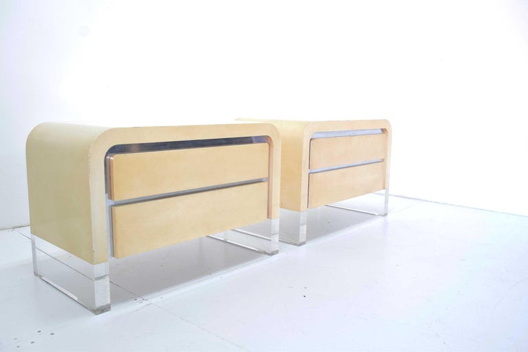 Hard to find Vladimir Kagan chest of drawers with polished reveal and Lucite leg tip. Needs new lacquer which we will do in color of choice.