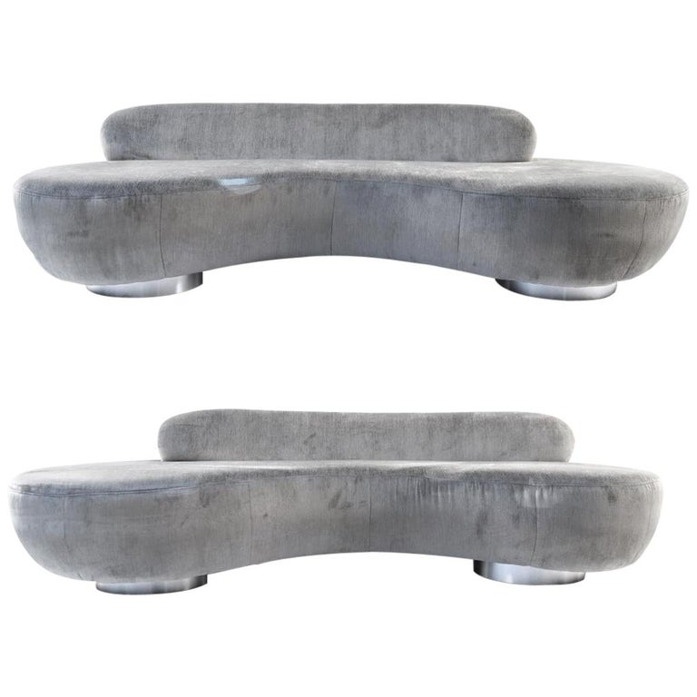 Pair of Vladimir Kagan Cloud Sofas by Directional For Sale