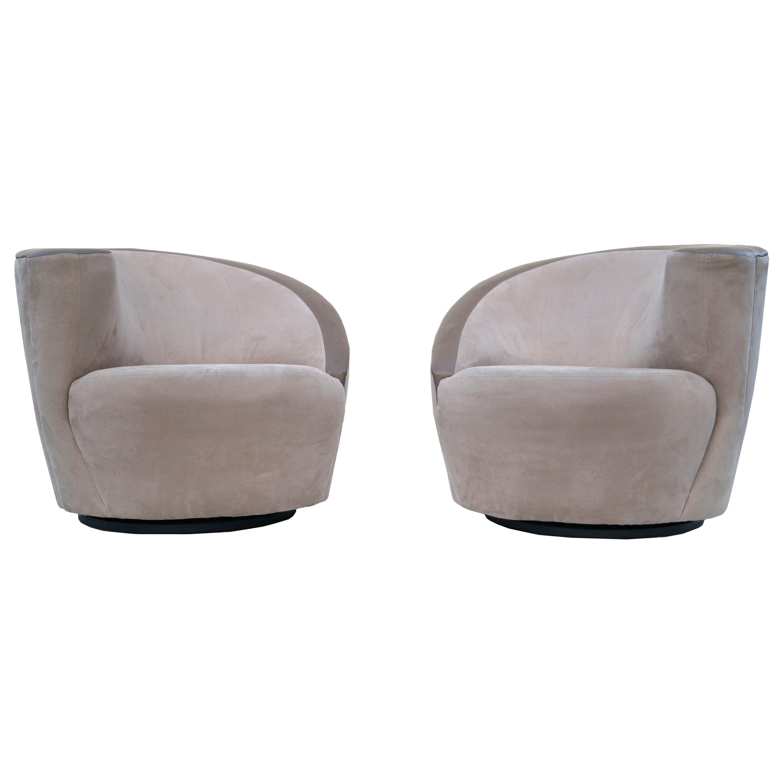 Pair of Vladimir Kagan Corkscrew Nautilus Swivel Chairs for Directional