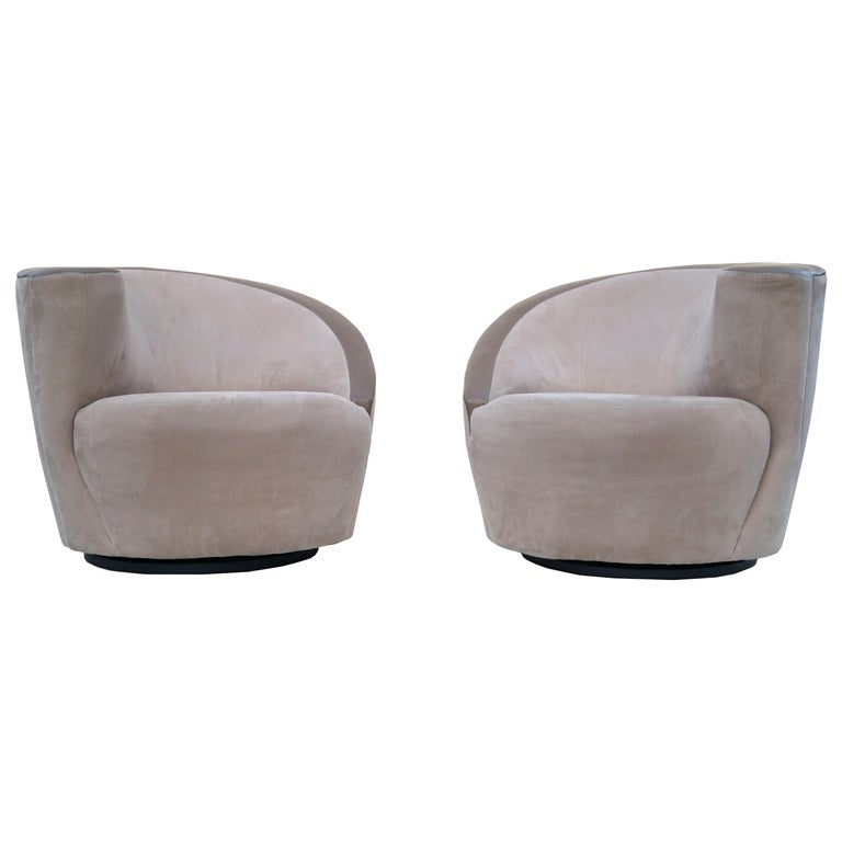 Pair of Vladimir Kagan Corkscrew Nautilus Swivel Chairs for Directional For Sale