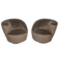 "Pair of Vladimir Kagan ""Corkscrew"" Swivel Chairs, circa 1990s"