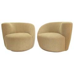 Pair of Vladimir Kagan Corkscrew Swivel Nautilus Lounge Chairs