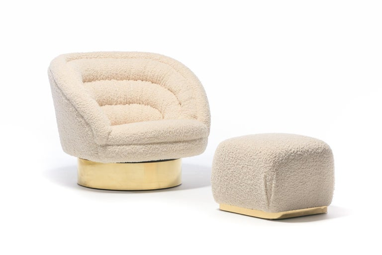 Pair of Vladimir Kagan Crescent Swivel Chairs in Ivory Bouclé with Brass Bases For Sale 6