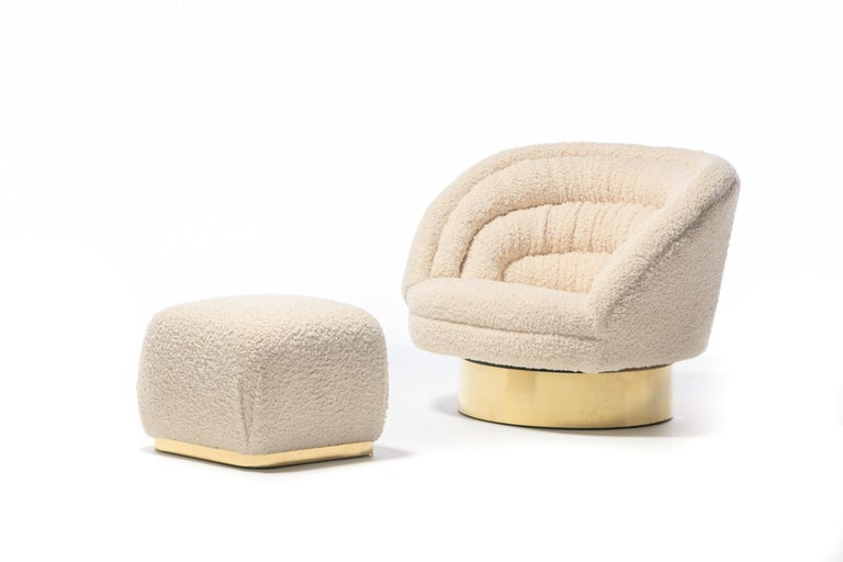 Pair of Vladimir Kagan Crescent Swivel Chairs in Ivory Bouclé with Brass Bases For Sale 8