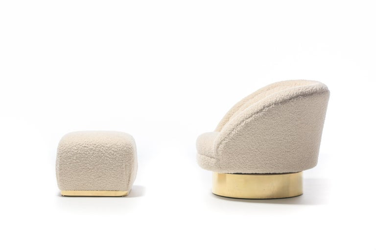 Pair of Vladimir Kagan Crescent Swivel Chairs in Ivory Bouclé with Brass Bases For Sale 9